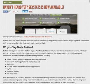 SkyStats WordPress Dashboard Announcement