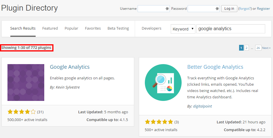 List of Google Analytics WordPress Plugins