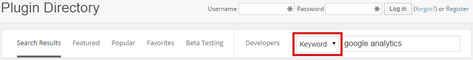 WordPress Directory Keyword Search